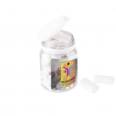 PLASTIK DOSE KAUGUMMI weiß incl. vollfarbigem Druck(PE0008300)