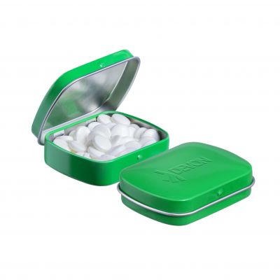 Geprägte Mini Klappdeckeldose grün incl. vollfarbigem Druck(PE0042500)