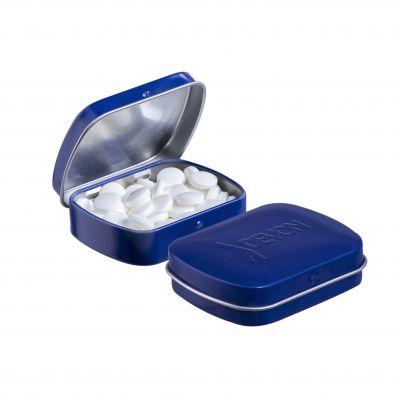 Geprägte Mini Klappdeckeldose blau incl. vollfarbigem Druck(PE0042600)