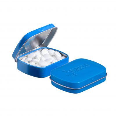 Geprägte Mini Klappdeckeldose blau incl. vollfarbigem Druck(PE0043400)