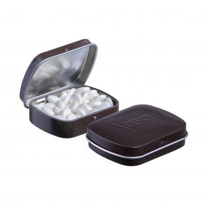 Geprägte Mini Klappdeckeldose braun incl. vollfarbigem Druck(PE0043300)