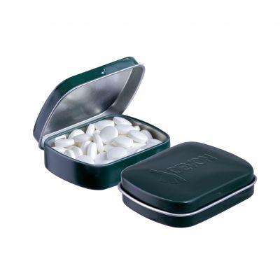 Geprägte Mini Klappdeckeldose dunkelgrün incl. vollfarbigem Druck(PE0042700)