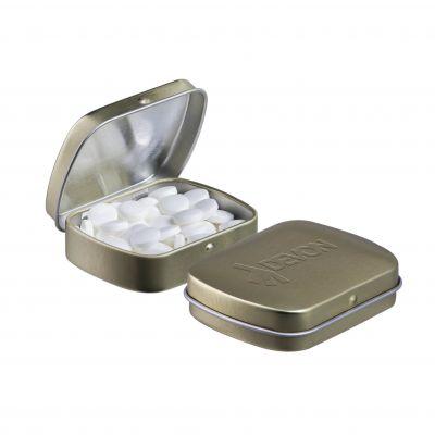 Geprägte Mini Klappdeckeldose gold incl. vollfarbigem Druck(PE0043000)