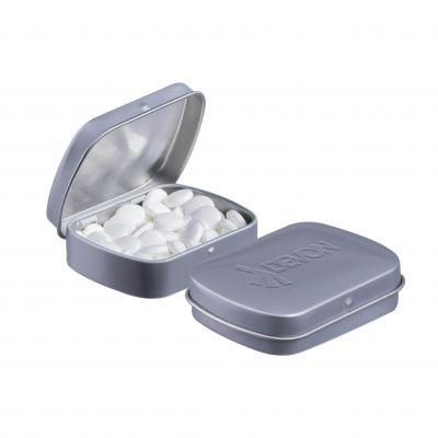 Geprägte Mini Klappdeckeldose grau incl. vollfarbigem Druck(PE0043200)