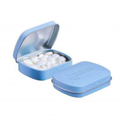 Geprägte Mini Klappdeckeldose hellblau incl. vollfarbigem Druck(PE0043500)