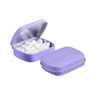 Geprägte Mini Klappdeckeldose lila incl. vollfarbigem Druck(PE0043600)