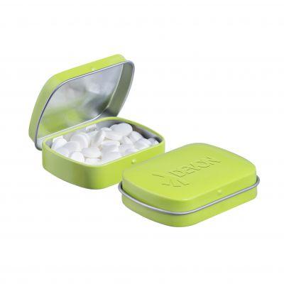 Geprägte Mini Klappdeckeldose hellgrün incl. vollfarbigem Druck(PE0043700)