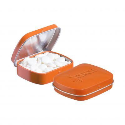Geprägte Mini Klappdeckeldose orange incl. vollfarbigem Druck(PE0044000)