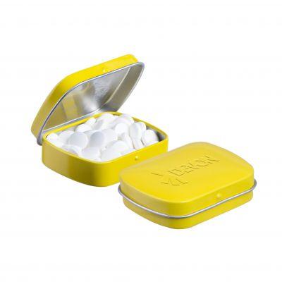 Geprägte Mini Klappdeckeldose gelb incl. vollfarbigem Druck(PE0043100)