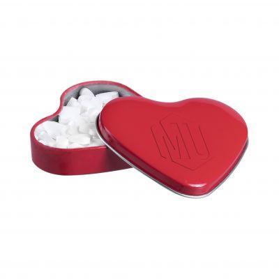 Herzförmige Dose rot mit Prägung ca. 23g Herzförmige Minze rot incl. vollfarbigem Druck(PE0059300)