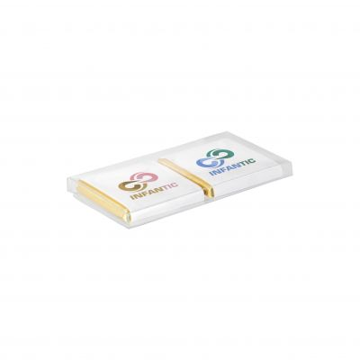 2 Schokoladen Täfelchen in Kunststoff Box transparent incl. vollfarbigem Druck(PE0063600)