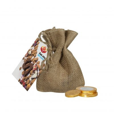 Jute Sack Schokolade Münze braun incl. vollfarbigem Druck(PE0065700)