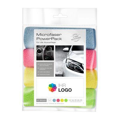 Microfaser PowerPack mit Werbe-Etikett Automobil bunt (PC0012200)