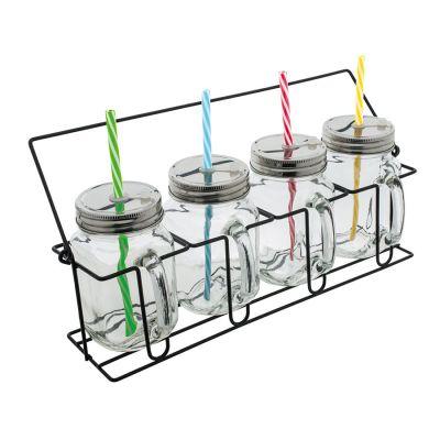 Set aus 4 Gläsern mit Strohhalmen REFLECTS