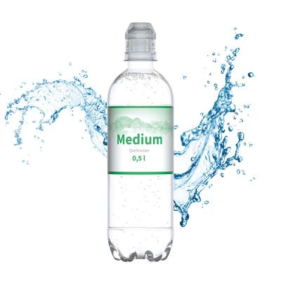 500 ml Quellwasser medium (Sportcap) - Smart Label (Export - Pfandfrei) SA0021100 bedrucken