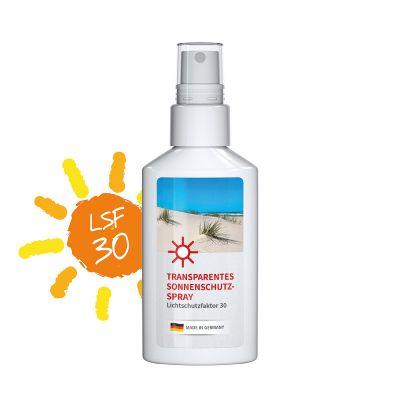 50 ml Spray weiß - Sonnenschutzspray transp. LSF 30 - Body Label SA0023700 bedrucken