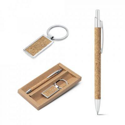 Schreibset bestehend aus Kugelschreiber und Schlüsselanhänger natur ST0040000