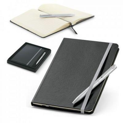 Schreibset aus Kugelschreiber und Notizbuch lichtgrau ST0047100