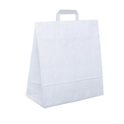Papiertragetasche 32 x 17 x 39 cm, flacher Henkel, weiß (FH0000600)