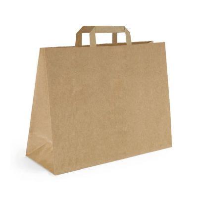 Papiertragetasche 34 x 18 x 35 cm, flacher Henkel, braun (FH0000500)