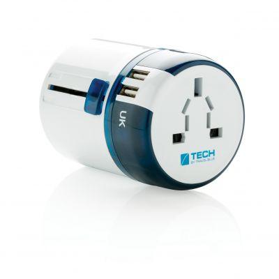 Travel Blue Reiseadapter mit USB bedrucken