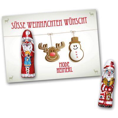 Grußkarte mit Schokoweihnachtsmann (ZU0037500) bedrucken