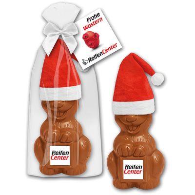 Weihnachtsosterhase mit Marzipanschild und Mütze (ZU0016300) bedrucken